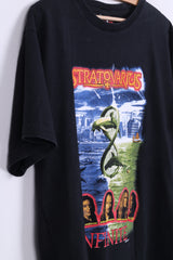 Thunder Mens L T-Shirt Black Cotton Crew Neck Stratovarius Infinite Top