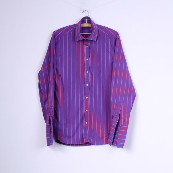 Ted Baker Endurance Mens 16 40.5 Casual Shirt Purple Cotton Striped Top Cufflinks