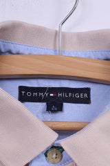 Tommy Hilfiger Mens L Polo Shirt Beige Buttons Detailed Top Cotton