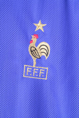 Adidas FFF Mens XL Shirt Blue France V Neck 2002 Football Jersey Trikot Top