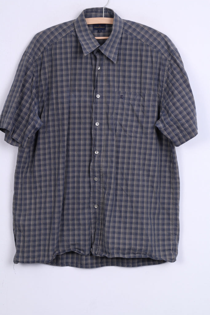 RED GREEN Mens L Casual Shirt Check Cotton Blue Short Sleeve