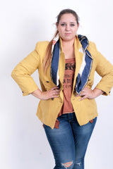 Colonial Wear Womens 42 L Blazer Jacket Linen Yellow - RetrospectClothes
