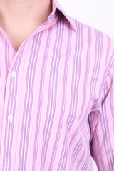 Thomas Pink Jermyn Street Mens 15 33.5 M Casual Shirt Pink Striped Cotton - RetrospectClothes