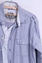 TOM WOLFE Mens XL Casual Shirt Striped Cotton Standard Collar White
