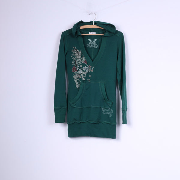 M.Elysse Womens M Sweatshirt Green Hooded Sportswear Top