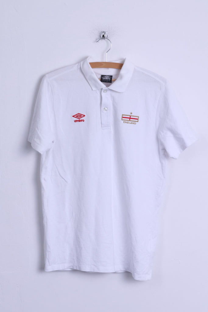 Umbro Mens L Polo Shirt White Nationale England Team Cotton Short Sleeve