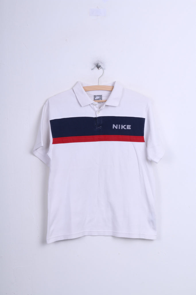 Nike Boys L (152-158)Age12/13 Polo Shirt White Cotton Sport - RetrospectClothes