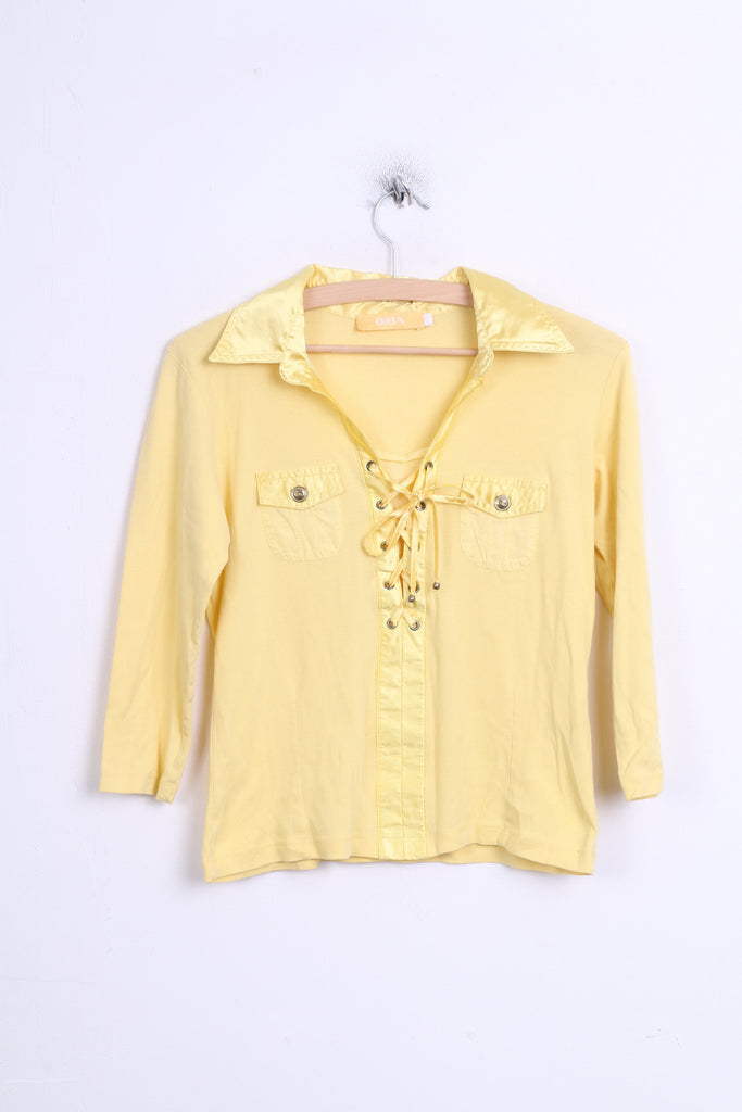 BIBA Womens 1 M Chic Blouse Yellow Collar Lace Up - RetrospectClothes