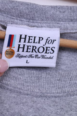 Help For Heroes Mens L T-Shirt Graphic Grey Cotton Top