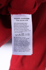 Tom Tailor Mens XXL Polo Shirt Red Cotton Long Sleeve Fitted Emroidered Top