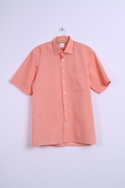 Olymp Mens 16 41 XL Casual Shirt Short Sleeve Orange Cotton Modern Fit