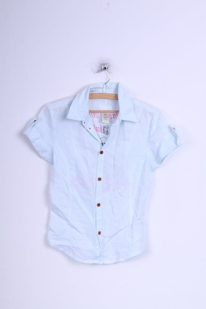 Diesel Womens M (XS) Casual Shirt Mint Linen Embroidered Back
