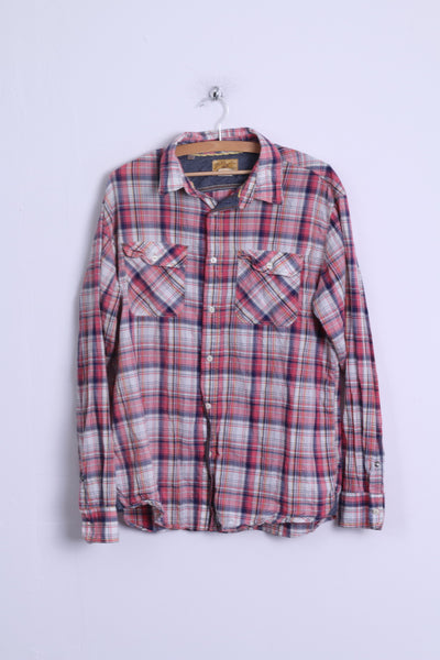 J.A.G.H.S JAGHS Mens XL Casual Shirt Pink Checkered Cotton Long Sleeve