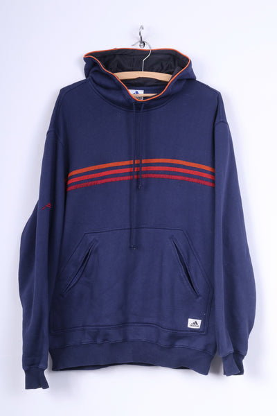 Adidas Mens 44/46 XL Sweatshirt Jumper Cotton Navy Hooded Kangaroo Pocket