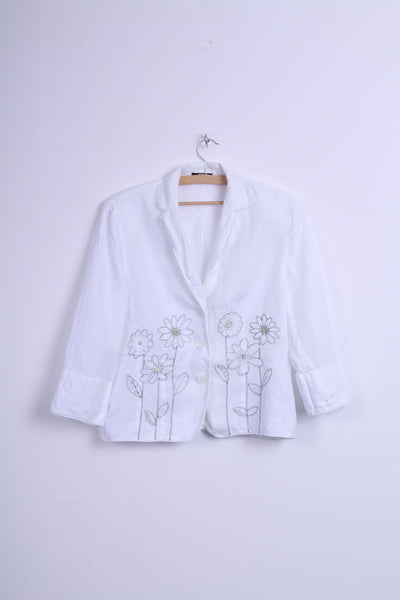 HUCKE Womens 14 XL Blazer White Embroidered Flowers Single Breasted Linen
