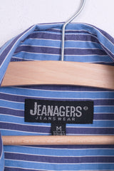 Jeanagers Mens M 38/40 Casual Shirt Cotton Blue Classic Collar Striped Button Down Collar - RetrospectClothes