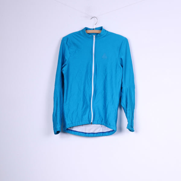 Lusso Mens S Cycling Swetashirt Full Zipper Blue Shiny Sportswear Top Vintage