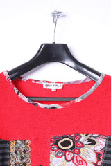 Maksim .Z Paris Womens M Jumper Red Acrylic Emroidered Abstract Sweater