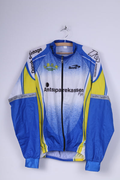 Biemme Mens XL Bike Jacket Blue Zip Up Lightweight Cycling Top