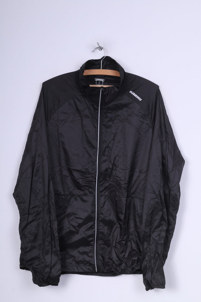 Karhu Mens L Jacket Full Zipper Black Nylon Waterproof Lightweight