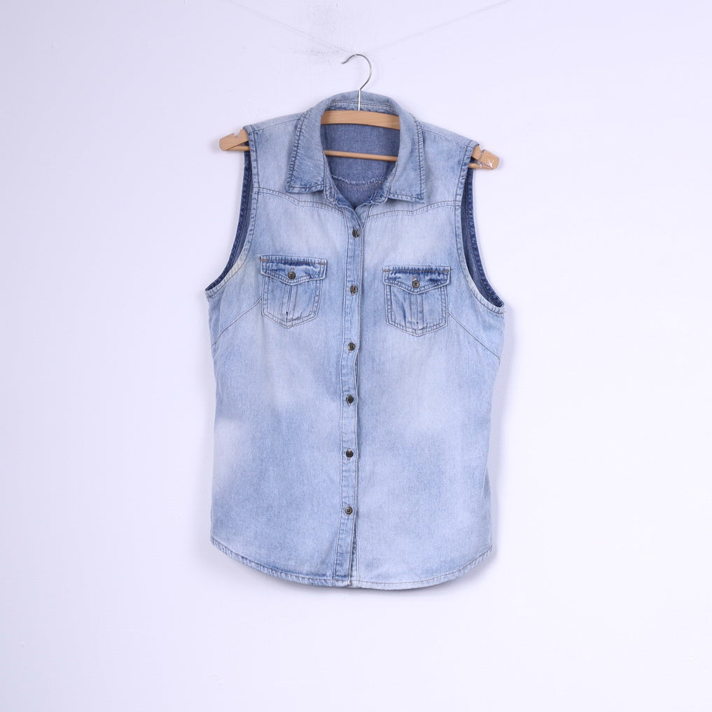 George Womens 14 42 M Denim Shirt Buttons Detailed Cotton Jeans Sleeveless Top