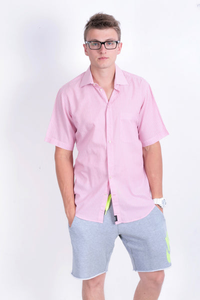 Strellson Mens 40 L 15 3/4 Casual Shirt Pink Striped Cotton Short Sleeve - RetrospectClothes
