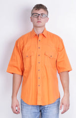 Jep's Mens M 39- 40 Casual Shirt Orange Cotton Vintage 90s - RetrospectClothes