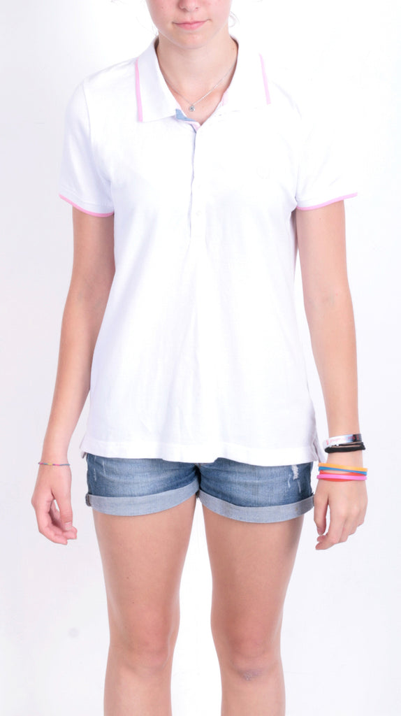 Etirel Womens M Polo Shirt White Summer Short Sleeve Cotton - RetrospectClothes
