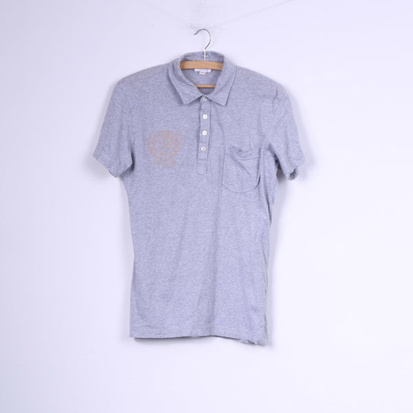 Diesel Mens M Polo Shirt Grey Slim Cotton Detailed Buttons Top