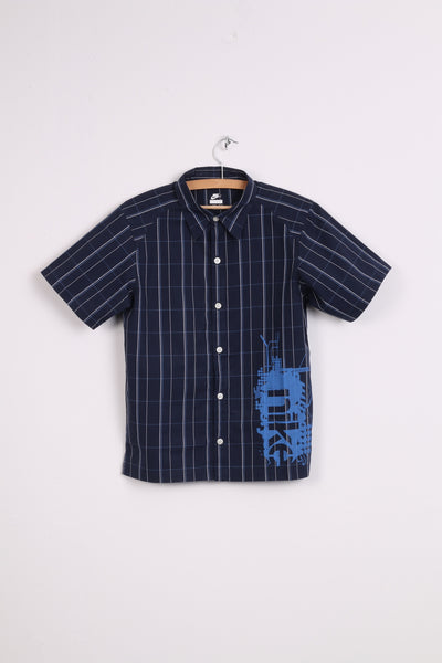 NIKE Boys L(14-16) Casual Shirt Short Sleeve Navy Cotton Check