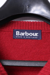 Barbour Mens L Jumper Red Pure New Wool Crew Neck Classic Sweater
