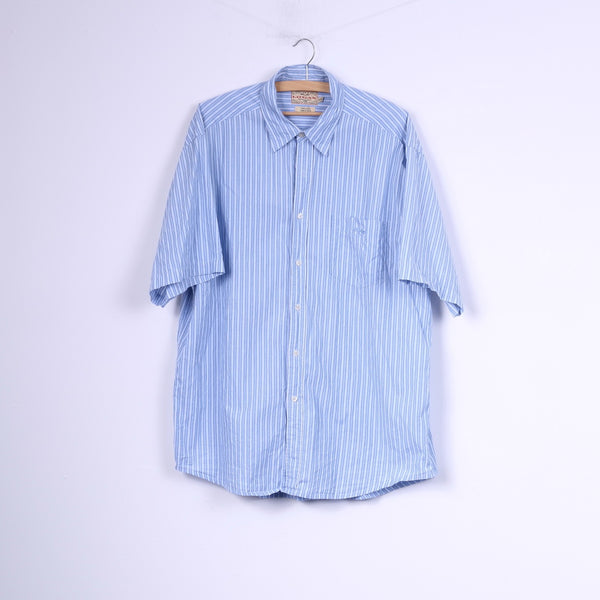 Logan Mens 2XL Casual Shirt Short Sleeve Striped Cotton Blue Top