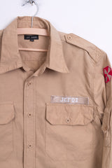 J.C.RAGS Mens M Casual Shirt Cotton Beige Standard Collar - RetrospectClothes