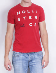 Hollister Mens M T-Shirt Crew Neck Red Short Sleeve Cotton Sport Surf - RetrospectClothes