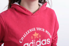 Adidas Womens S Sweatshirt Hood Red Cotton 3 Stripes Long Sleeve - RetrospectClothes