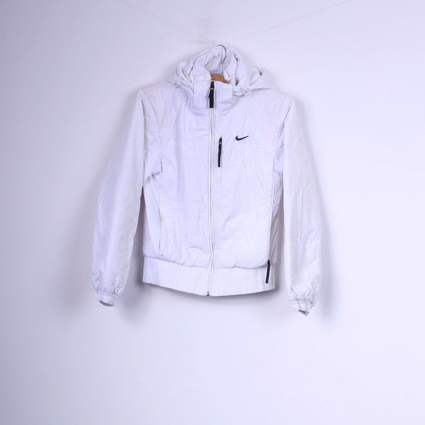 Nike Womens S Jacket Paded White Hooded Full Zipper Sportswear