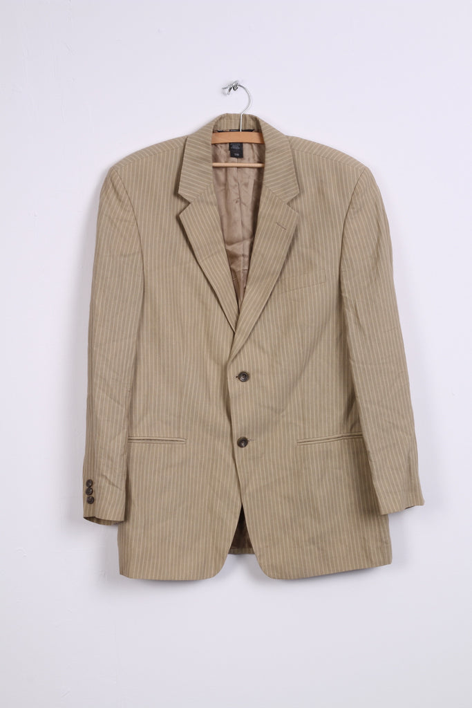 Claiborne Mens 40R Blazer Jacket Taupe Single Breasted Striped Linen