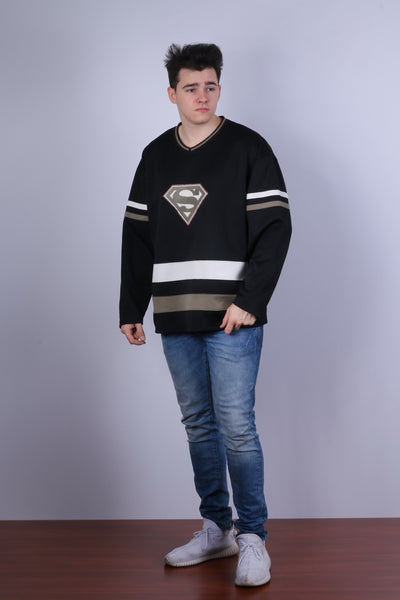 DC Comics Warner Bros Studio Store Mens XL Sweatshirt Black Superman Vintage Top
