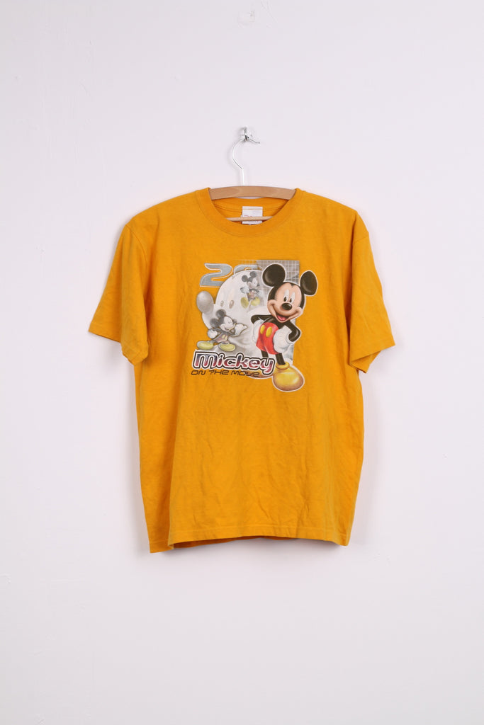 Disney Store Boys L T-Shirt Orange Mickey Of The Move Cotton