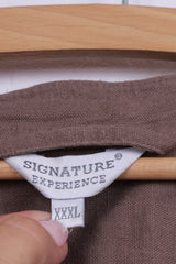 Signature Experience Womens XXL Casual Shirt Taupe Pocket Linen Short Sleeve Top