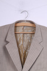 Vipo &Tailors Mens XL Suit Blazer Trousers Single Breasted Striped Beige Top Shoulder Pads 2 Pieces