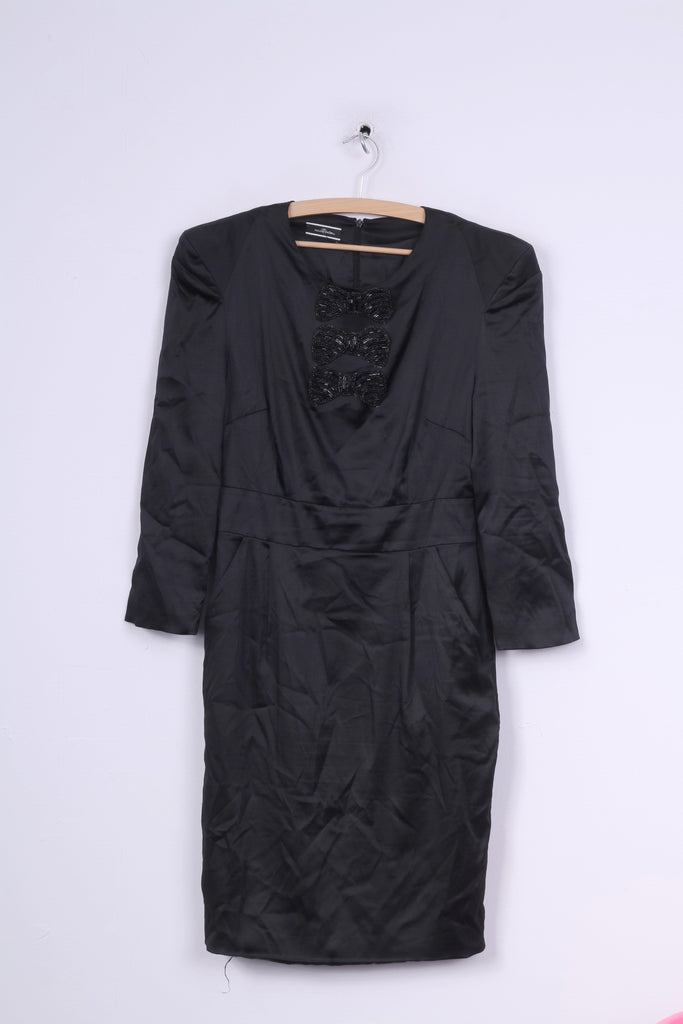 Malene Birger Womens 38 M Midi Dress Style Ares Black Silk Shoulder Pads 7/8 Sleeve