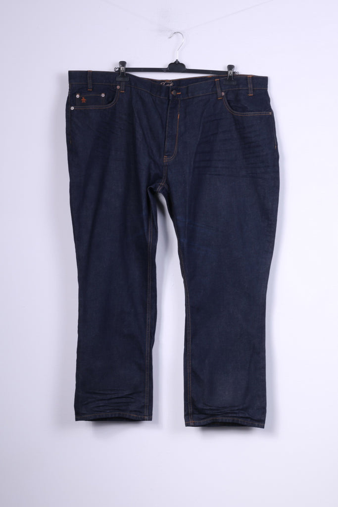 Original Penguin Mens W52 L32 Trousers Navy Cotton Jeans Denim Big Size