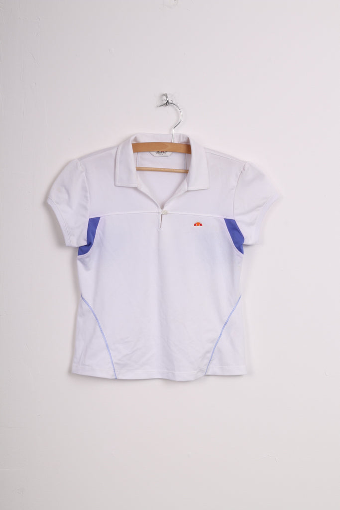 Ellesse Italia Grils L 12-14Yrs Polo Shirt White Sport Short Sleeve