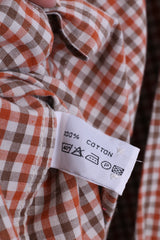 DOC Mens L Vintage Casual Shirt Check Orange Cotton Top Single Breasted - RetrospectClothes