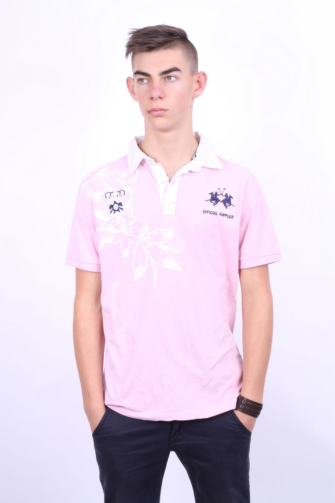 La Martina Saddlery Mens L Polo Shirt Pink Cotton - RetrospectClothes