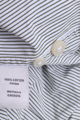 Abercrombie & Fitch Mens L Casual Shirt White Cotton Striped Muscle - RetrospectClothes