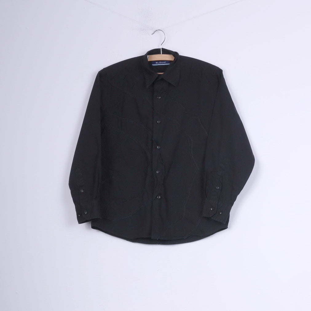 Ben Sherman Boys M 14 Age Casual Shirt Black Cotton Long Sleeve Top
