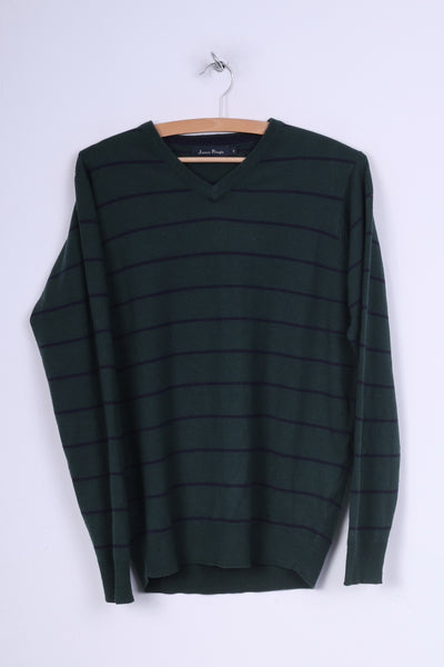James Pringle Mens S Jumper Sweater Dark Green Striped V Neck