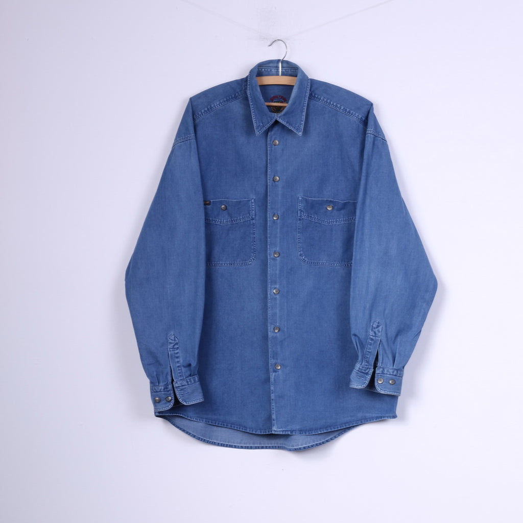 State Of Art Mens L Casual Shirt Denim Buttons Down Collar Jeans Blue Top